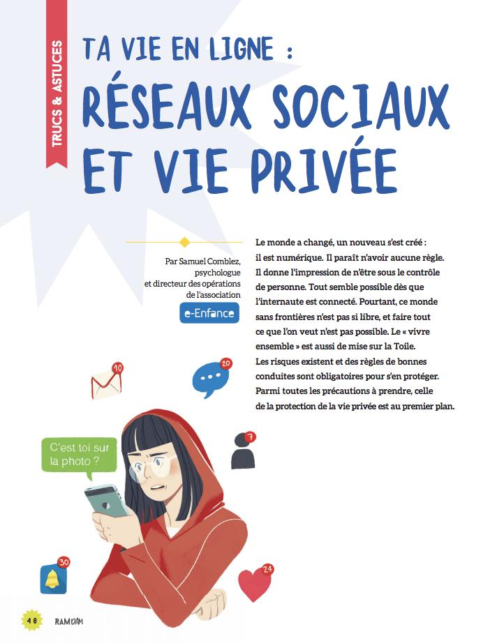 Protéger sa vie privée en ligne avec e-Enfance et les éditions Fleurus et sa collection Ramdam