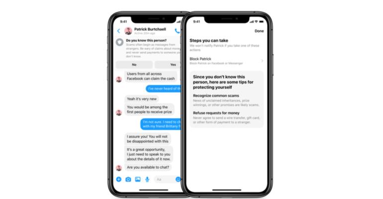 Une pop-up sur Messenger pour éviter les escroqueries