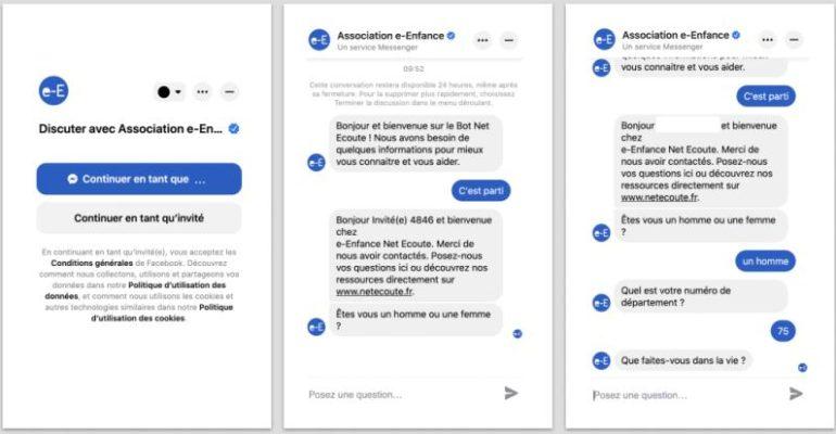 L'Association e-Enfance, avec le soutien de Facebook, lance un chatbot pour aider les jeunes en difficulté dans leurs usages numériques, une première en France