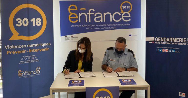 La Gendarmerie Nationale signe une convention de partenariat avec l'Association e-Enfance/3018